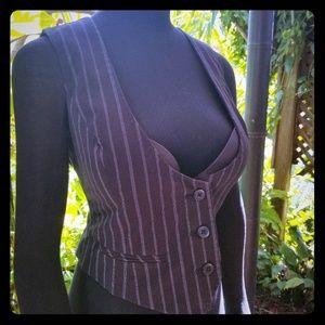 Corset style pinstripe vest